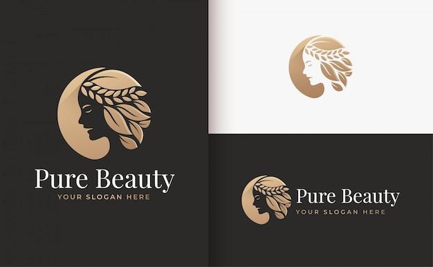 Gold-farbverlauf-logoentwurf des friseursalons der frau