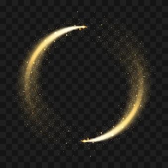 Gold funkelnder glitzerkreis.