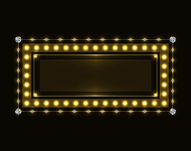 Gold funkelnder neonrahmen