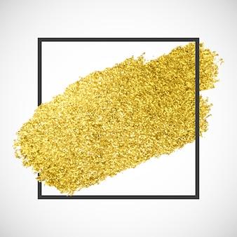Gold funkelnder streifen auf einem schwarzen rahmen
