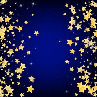Gold galaxy stars blauer hintergrund. luxus-stern-textur. funkelndes design. gelbe abstrakte leuchtende grenze.