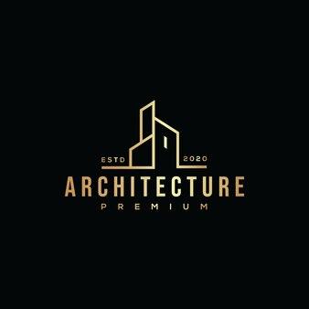 Gold gebäude architektur logo hipster retro vintage premium