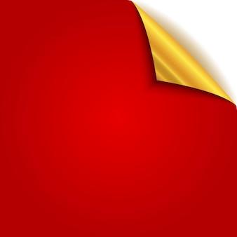 Gold gekräuselte papierecke. rote seite mit goldener rückseite