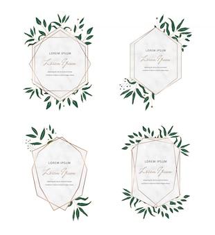 Gold geometrische polygonale marmorrahmen mit botanischen blättern. luxus-design-elemente