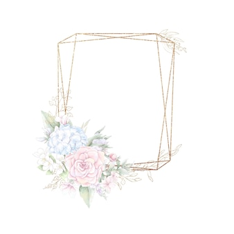 Gold geometrischer rahmen mit rosen. aquarellillustration.