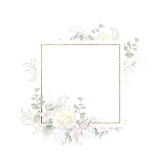 Gold geometrischer rahmen mit rosen