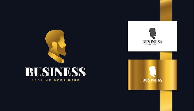 Gold geschäftsmann logo für unternehmen, finanzen oder agenturidentität. menschen-, anführer- oder mann-logo