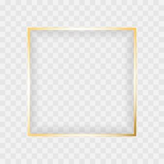 Gold glänzend leuchtenden quadratischen rahmen