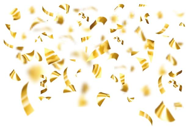 Gold glänzende konfetti fliegen auf einem weißen hintergrund.