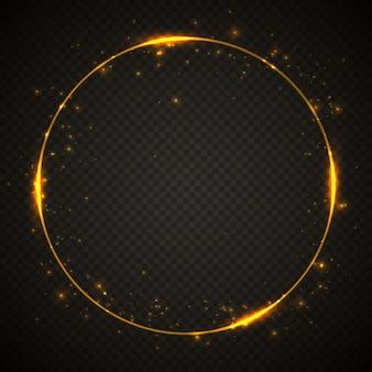 Gold glänzender glitzerrahmen mit lichteffekten. leuchtender kreis banner