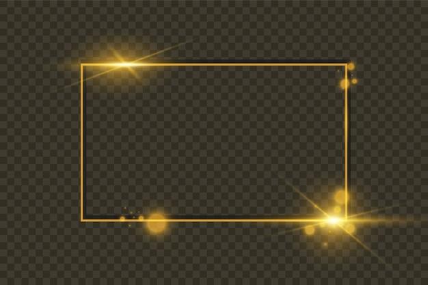 Gold glänzender leuchtender rahmen lokalisiert auf transparentem hintergrund