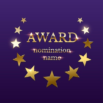 Gold glänzendes award-emblem mit sternen auf lila hintergrund
