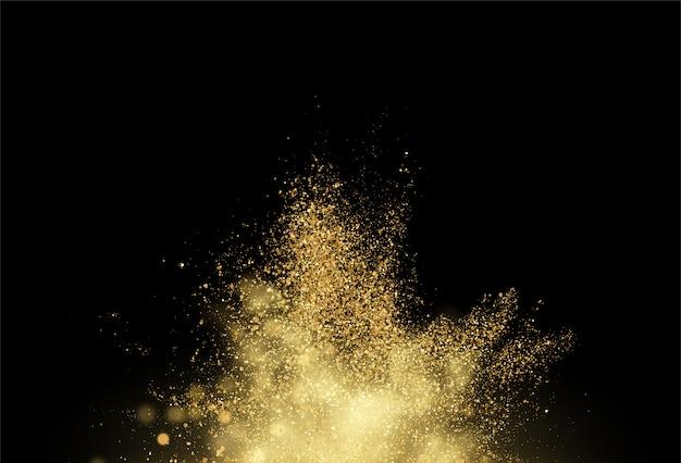 Gold glitter staub textur. designelement goldene explosion körniger abstrakter hintergrund.