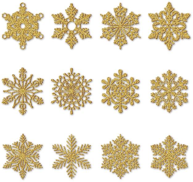 Gold glitzern schneeflocken