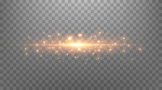 Gold glitzernde punkte, glitzer, partikel und sterne auf schwarzem hintergrund. abstrakter lichteffekt. goldene leuchtende punkte. vektor-illustration.