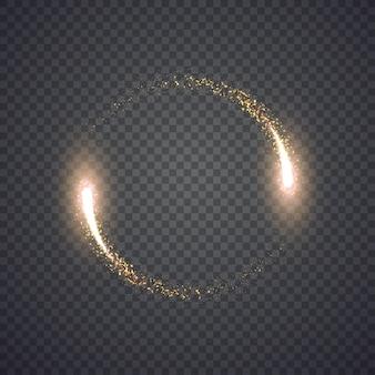 Gold glitzernder sternenstaub leuchtet kreis. abbildung auf hintergrund isoliert. grafisches konzept für ihr design