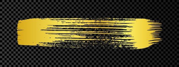 Gold grunge pinselstrich. gemalter tintenstreifen. goldtintenfleck lokalisiert auf dunklem transparentem hintergrund. vektor-illustration
