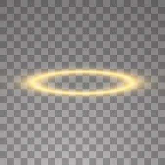 Gold halo engelsring. auf schwarzem transparentem hintergrund, illustration.