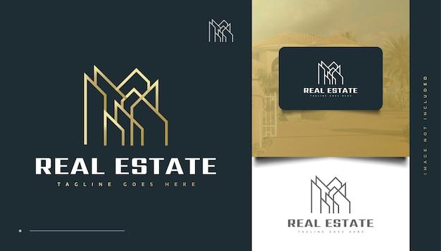 Gold-immobilien-logo-design mit abstraktem konzept