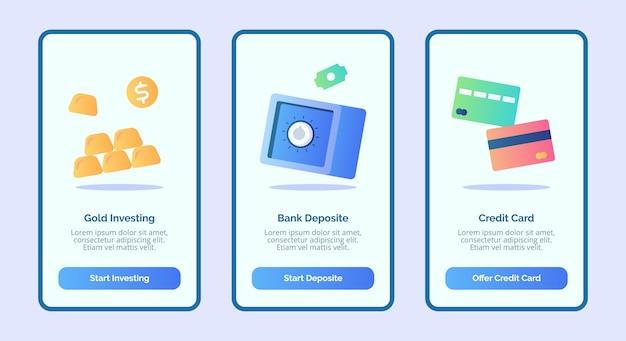 Gold investierende bankeinzahlungskreditkarte für mobile apps vorlage banner seite benutzeroberfläche