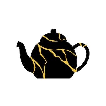 Gold kintsugi japanische kunst der reparatur von teekanne.
