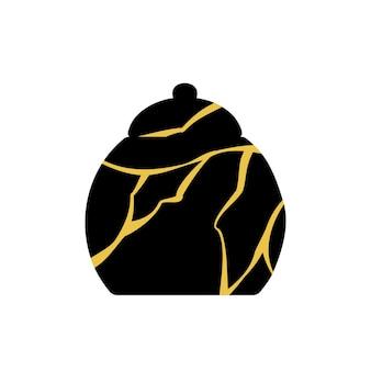 Gold kintsugi japanische kunst der reparatur von zuckerdose.
