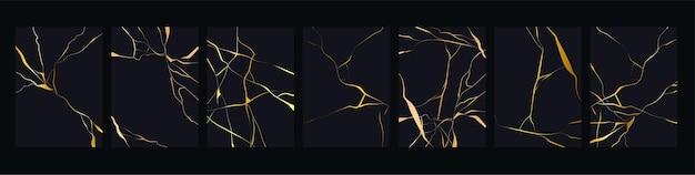 Gold kintsugi. luxuriöse goldene marmorbeschaffenheit.