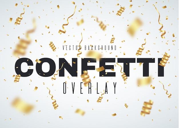 Gold-konfetti-party-feier-hintergrund mit bändern und partikeln.