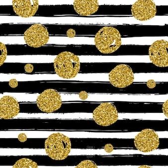 Gold-kreise auf schwarzem handdrawn linie trendy nahtlose muster verwendung im design vektor-illustration feiern