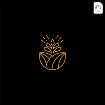 Gold landwirtschaft farm linie abzeichen vintage logo