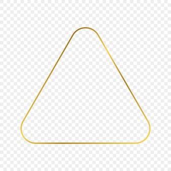 Gold leuchtender abgerundeter dreiecksrahmen isoliert auf transparentem hintergrund. glänzender rahmen mit leuchtenden effekten. vektor-illustration.