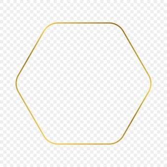 Gold leuchtender abgerundeter sechskantrahmen isoliert auf transparentem hintergrund. glänzender rahmen mit leuchtenden effekten. vektor-illustration.