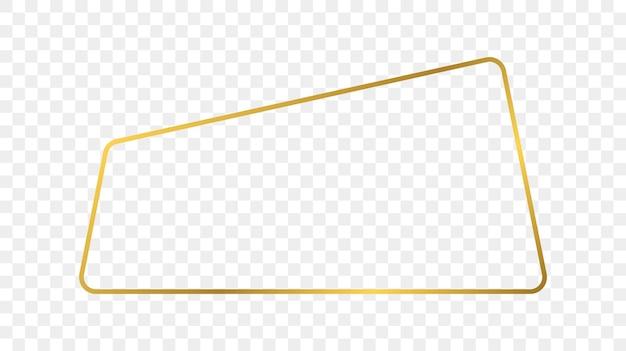 Gold leuchtender abgerundeter trapezförmiger rahmen isoliert auf transparentem hintergrund. glänzender rahmen mit leuchtenden effekten. vektor-illustration.