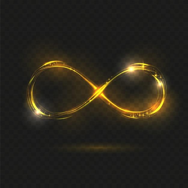 Gold leuchtendes unendlichkeitssymbol.