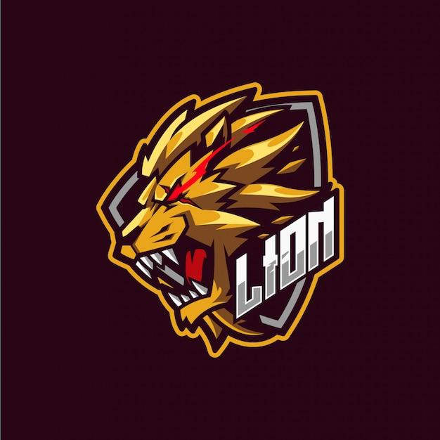 Gold löwe maskottchen logo
