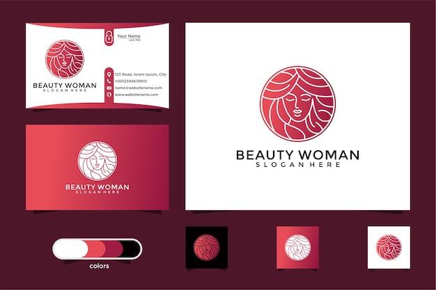 Gold-logo-design und visitenkarte der schönheitsfrauen. gute verwendung für das spa- und schönheitssalon-logo