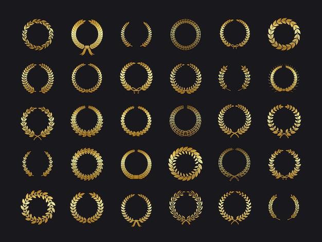 Gold lorbeerkränze. goldener lorbeer blattweizen oliven eiche kranz lorbeer blätter gewinner award heraldik aufkleber schwarzen hintergrund