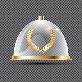 Gold lorbeerkranz auf podium unter glaskuppel