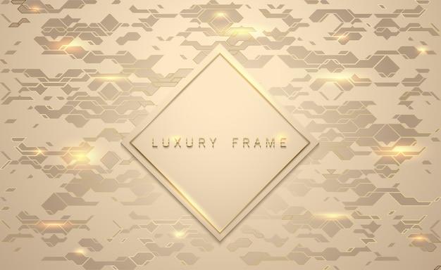 Gold luxus. goldener rautenmarkenrahmen. leuchten sie geometrische goldene lichter muster hintergrund.