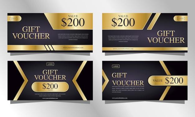 Gold luxusgutscheine geschenkvorlagenset