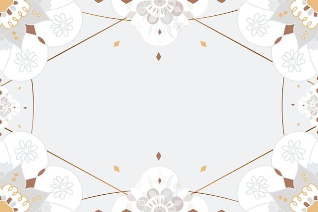 Gold mandala musterrahmen grau botanischer indischer stil