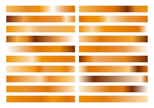 Gold metall gradient collection und goldfolie textur set.