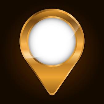 Gold metallic finish gps pin symbol bild