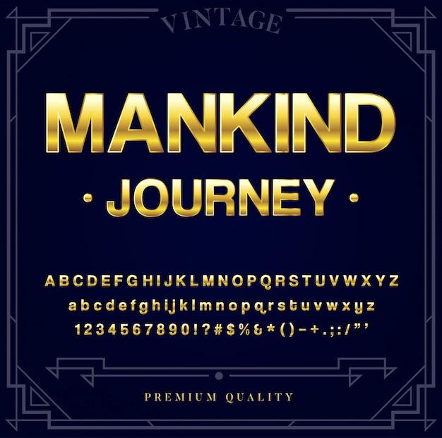 Gold metallic font set. buchstaben, zahlen und sonderzeichen in