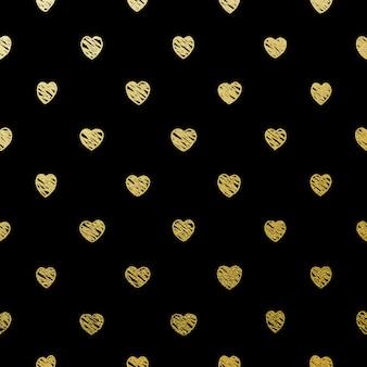 Gold nahtlose herzen auf schwarz.