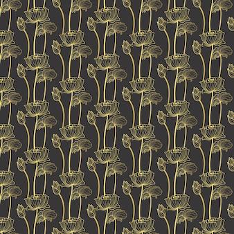 Gold nahtlose muster von lotus blumen vektor