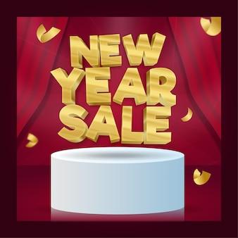 Gold new year sale flyer oder social media banner mit theatervorhang