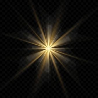 Gold oder weiß leuchtendes licht platzen explosion transparent, illustration für coole effektdekoration mit strahlen funkelt. heller stern. transparenter glanzverlauf glitzer, helle fackel.