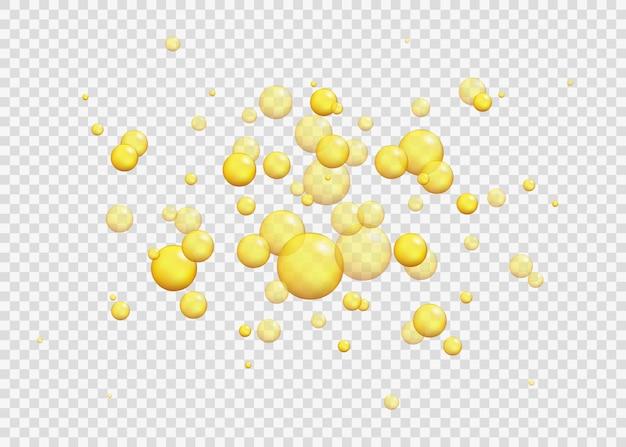 Gold ölblasen. blink-kollagen-kapseln. realistische perle 3d des künstlichen epoxidbernsteins und sogar tropfen des weins, des bieres, des safts, des honigs, des öls.