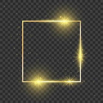 Gold quadratischer rahmen leuchtender effekt rechteck glänzende form dunkle magie luxus magische dekoration